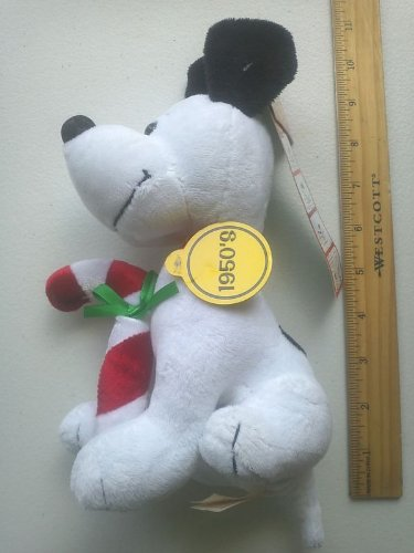 "Peanuts Celebrate 60 Years 1950's Decade 8"" Plush Snoopy with Christmas Candy Cane - 1"