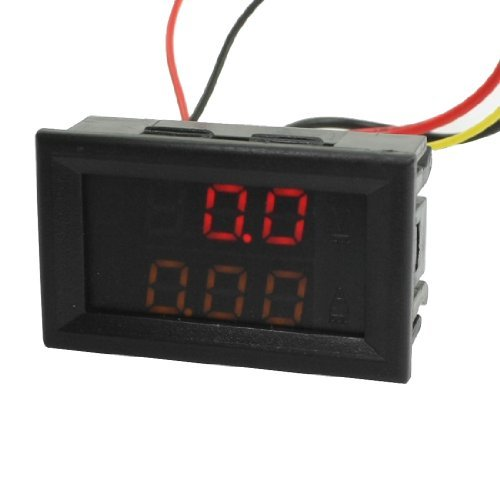 Water & Wood Dc 0-100V 0-10A Digital Red Yellow Led Volt Amp Test Panel Meter