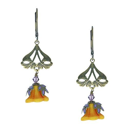 [NoMonet Vintage Style Hand Painted Love Light Dangle Earrings - Goldtone, Orange, Lavender Leaves] (Clockwork Orange Costume Female Diy)