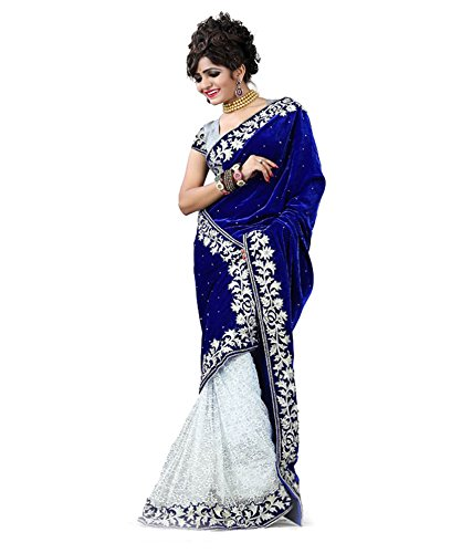 TexStile women's Blue colour velvet and net saree with blouse piece (chandani Blue)  available at amazon for Rs.349
