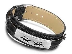 Armband aus schwarzem Kunstleder mit eingravierten Symbolen auf einer Edelstahlplatte salamander
