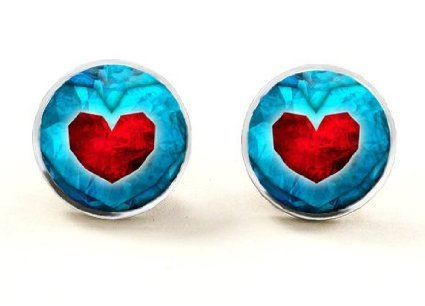 Jewelry tycoon®Heart Stud Earrings Heart Container Earrings Ocarina Handmade Glass Cabochon Dome Stud Earrings