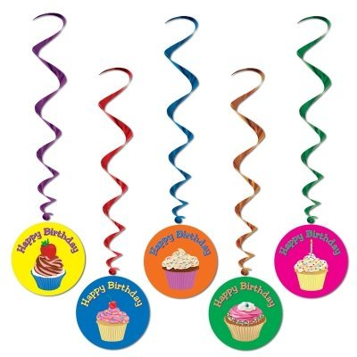 Beistle 57582 5-Pack Happy Birthday Whirls, 3-Feet 4-Inch
