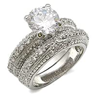 CZ WEDDING RINGS - 2 CT. Antique Style Pave CZ Wedding Set Size 10