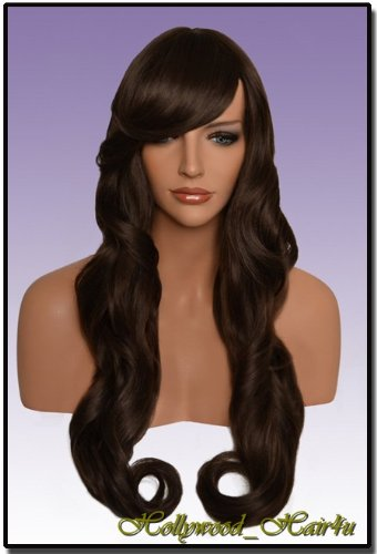 Hollywood_hair4u - Extra Long Curly #6B Warm Medium Brown Wig Kanekalon Heat Resistant Synthetic Fiber Wig with Skin Top *NEW*