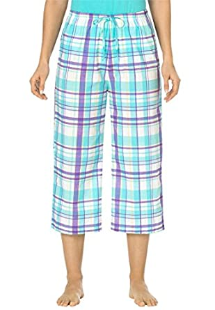 Dreams & Co Women's Plus Size Capri Pajama Pants Aqua Purple Plaid,M