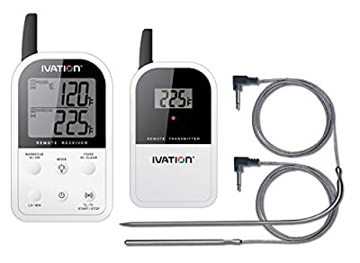 Ivation Long Range Wireless Digital Thermometer Set - Dual Probe - Remote BBQ / Smoker / Grill / Oven / Meat / Thermometer - Monitor your Food From up to 300 feet away