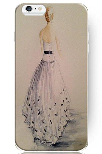 Sprawl Love Melody Design Hard Plastic Case Cover For Iphone 6 Plus (5.5'') -- Wedding Dress Sketch