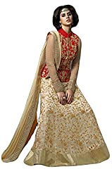Justkartit Women's Golden & Red Colour Net & Banglori Silk With Tapping Work Stylish Lehenga Choli (Wedding Wear Lehenga Choli / Engagement Wear lehenga Choli)