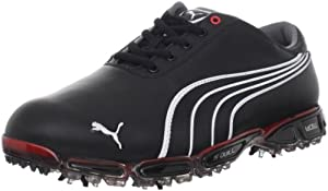 PUMA Men's Cell Fusion 3 Pro Wide Golf Shoe,Black/White/Fiery Red,9 W US