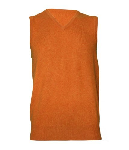 Noluur Mens Cashmere V Neck Vest Top in Orange Size XXL