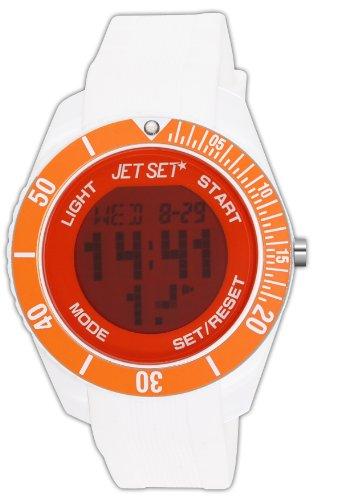 Jet Set J93491-17 - Reloj digital de cuarzo unisex con correa de caucho, color blanco
