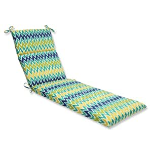 72 5 offuscata chevron blue green white for Blue and white chaise lounge cushions