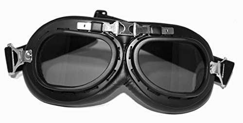 WH2 Motorcycle Steel Helmet & Glasses Matte Black Size S to XL