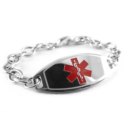 My Identity Doctor Womens Steel Medical ID Bracelet, Red Symbol, O-Link Chain - Free ID Card