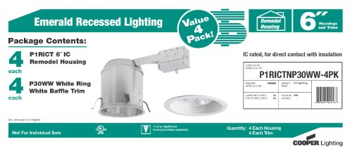 Recessed lighting fixtures cooper lighting emerald 6 contractor cooper lighting emerald 6 contractor pack 4 ic housings and 4 white baffle trims aloadofball Image collections