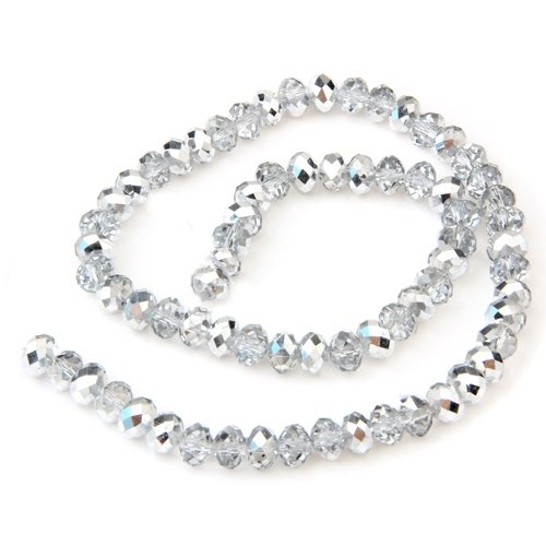 Generic Silver Rondelle Faceted Crystal Glass Beads 0.31x0.24 FASHION shelfing a womanine psyche