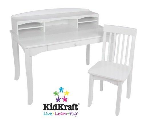 2pcs White Finish Kid's Avalon Desk With Hutch & Chair Set