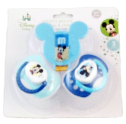 "Mickey Mouse ""Little Sweetie"" Pacifier and Clip 3 pack, Blue, one size - 1"