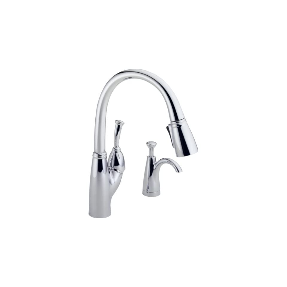 Delta 989 SD DST Allora Single Handle Pull Down Kitchen Faucet with Soap Dispenser, Chrome