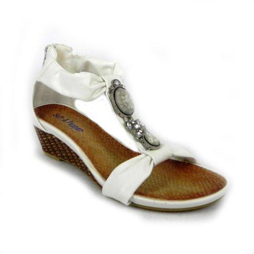 Salt & Pepper Womens Ankle Strap Back Zip Wedge