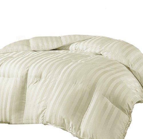 Marrikas Reversible Microfiber Down Alternative Queen Comforter Cream Stripe front-899796