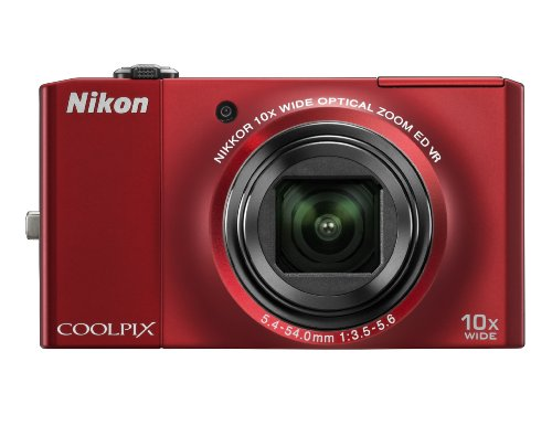 Nikon Coolpix S8000 14.2 MP Digital Camera with 10x Optical Vibration Reduction (VR) Zoom and 3.0-Inch LCD (Red)