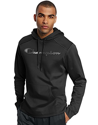 Champion Men's Tech Fleece Reflective Logo Pullover Hoodie, Black, Large