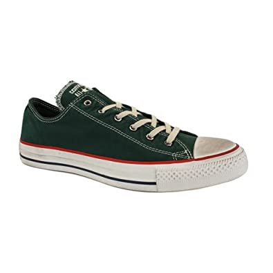 Converse Chuck Taylor Washed Canvas Ox 139981C Unisex Laced Canvas Trainers Green - 12