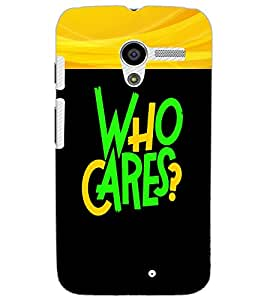 MOTOROLA MOTO XWHO CARES Back Cover by PRINTSWAG