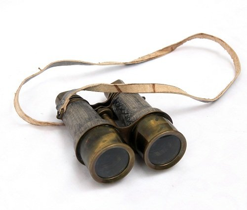 Collectibles Buy Antique Victorian Leather Covered Brass Binocular Finish 3