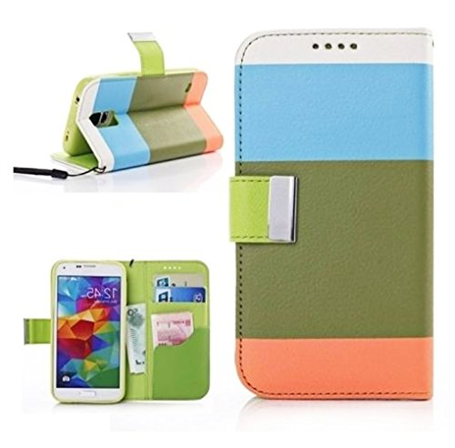 Mylife Koskin Faux Leather Slim Wallet - Green, Blue, And Orange