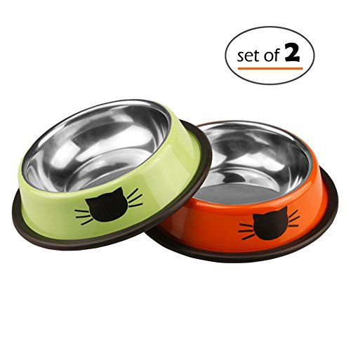 Petfamily Stainless Steel Cat Bowl, Heavy Duty Cats and Dogs Bowls with Non-Skid Rubber Base, Pet Food Bowls, 8 Ounce, Set of 2 (Stainless Steel Shallow Bowl compare prices)