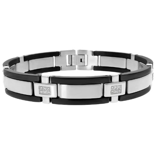 Men's Stainless Steel Bracelet  Diamond-Accent