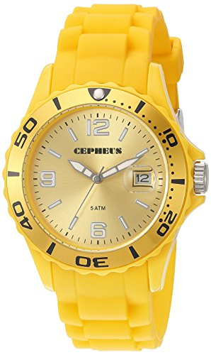 Cepheus Women's Quartz Watch with Yellow Dial Analogue Display and Yellow Silicone Strap CP603-090C