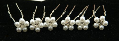 White Pearl Flower Bridal Hair Pins with Crystal (Pack of 6) HS1001