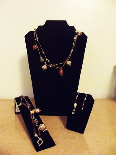 EARTH (4-PIECE SET - NECKLACE, EARRINGS, BRACELET) - HANDMADE, CLAY GLASS AND ACRYLIC BEADS (SHADES OF BROWN)