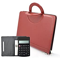 #1 Top Rated Executive Resume Padfolio/Portfolio, izBuy A4 Size Hand-held Business Organizer Note Pad Folder with ID Window/Card Pocket/Pen Insertion,10 Leaflets/Calculator&Lock Included (Red)
