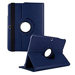 360 Degree Rotating Luxury Leather Stand Case Cover for Samsung Galaxy Tab 3 10.1 P5200/P5220/P5210 (DARK BLUE)