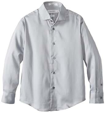 Calvin Klein Big Boys' Sateen Dresswear Shirt 2, Light Grey, 16