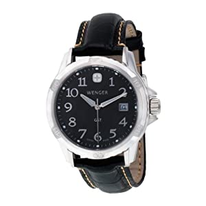 Wenger Men's 78235 GST Black Dial Black Leather Watch
