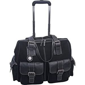 Jill-e 769398 Leather and Black Suede Rolling Camera Bag Large (Black)