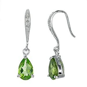 2.50 CT Peridot and Diamond Dangle Earrings In Sterling Silver