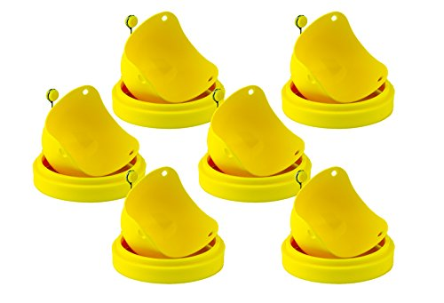 Egg Ring Mold Rounds and Egg Poacher Cup Pods - Nonstick Silicone for Easy Perfect Eggs - Yellow, 12 Pack