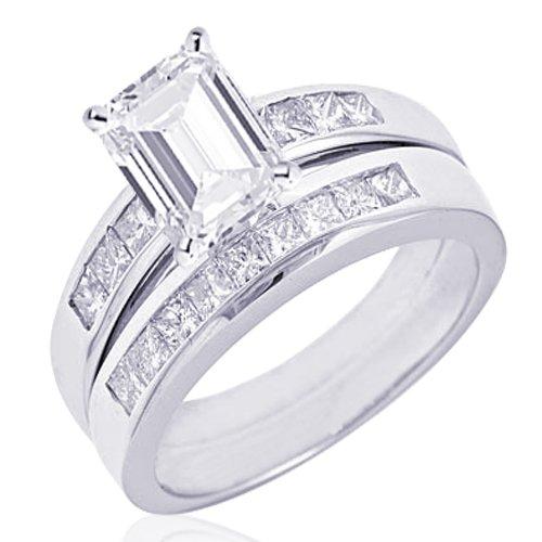 1 Ct Emerald Cut Diamond Engagement Wedding Rings Set