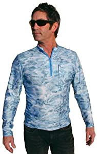 Aqua Design Men's Fishing 1/4 Zip Mock Turtleneck Long Sleeve UV Sun Protection UPF 50+ Loose Fit Skyward Camo Pullover By Aquawear