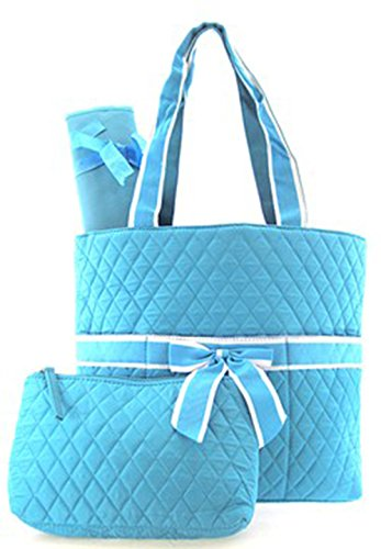 3 Piece Solid Color Quilted Diaper Bag Set w/ Changing Pad & Cosmetic Purse (Blue) - 1