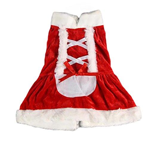 YiJee Costume del Cane di Babbo Natale Cappotto per Cani Abito Santa Regalo per Animali Domestici Rosso Vestito S