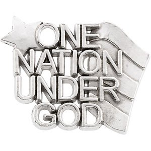 Sterling Silver One Nation Under God Lapel Pin