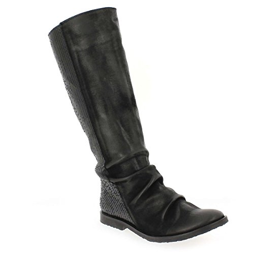Felmini 9072 Black Snake Print Leather Womens Calf Hi Boots-41